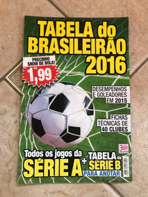 Revista Tabela Do Brasileirão 2016 Série A E Série B