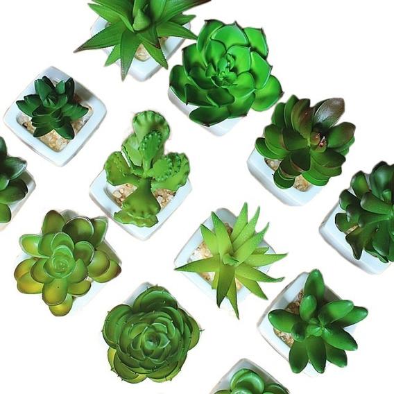Kit 6 Plantas Mini Suculentas Artificiais Vaso De Cerâmica