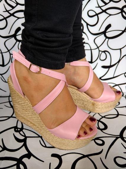 Zapato Alto Rosa En Plataforma De Yute De Moda Envío Gratis