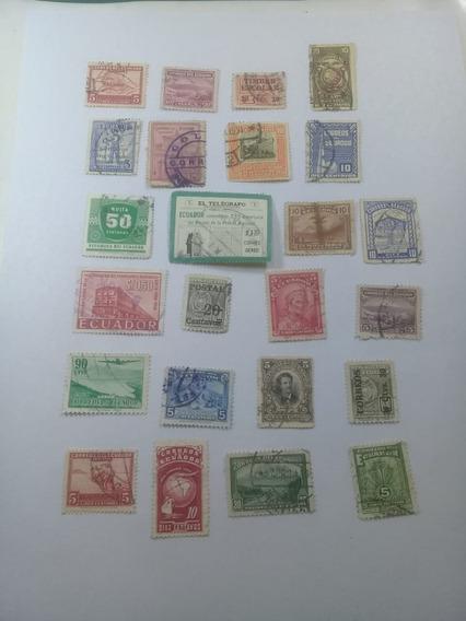 24 Estampillas Ecuador Antiguas 1896-1930-usadas