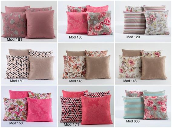 Kit 4 Almofadas Decorativas Cheias Estampadas Floral E Rosa