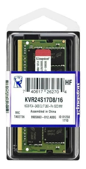 Memoria Ram Notebooks Sodimm Ddr4 16gb Kingston 2400 Cl17kvr