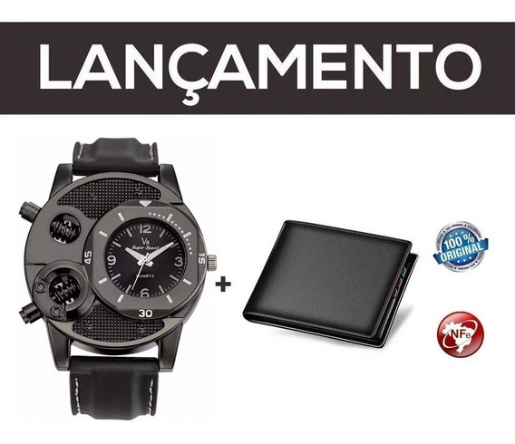 Relógio De Pulso V8 Cool Parafusos + Carteira Brinde