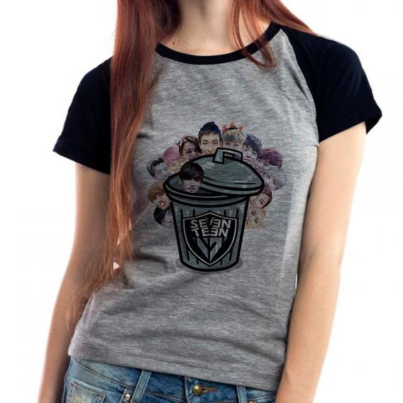 Camiseta Seventeen Trash Kpop Babylook Mescla
