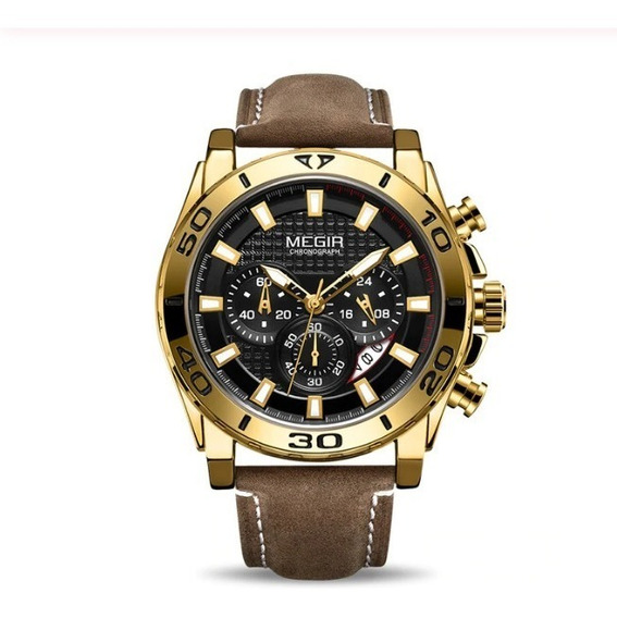 Relógio Masculino Megir Original Cronógrafo Couro Legitimo