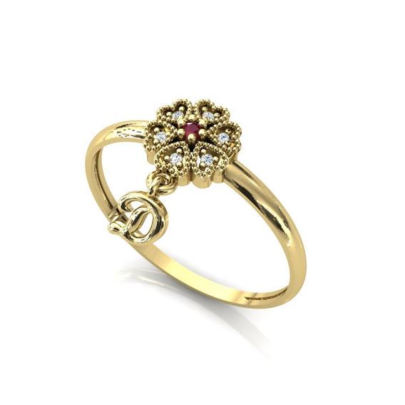 Anel Chuveiro Flor Coração Com Pingente Ouro 18k Dourado