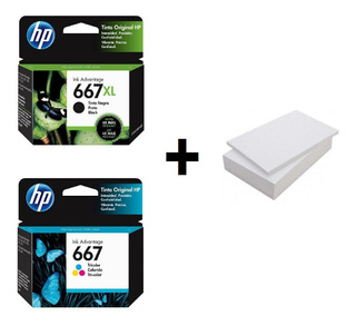 Kit De Cartuchos Hp 667xl Negro + 667 Tricolor + Resma