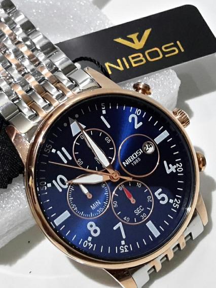 Relógio Nibosi 2368 Luxo Aço Homens De Negócios Promoção