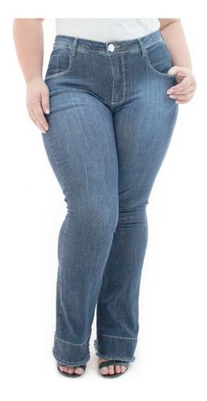 Calça Feminina Jeans Flare Com Elastano Lycra Plus Caj215
