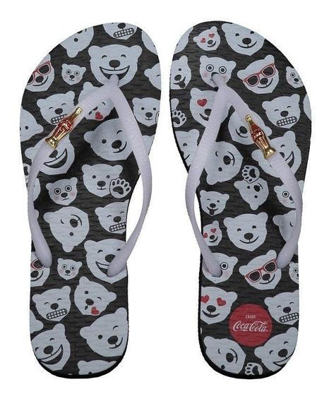 Chinelo Coca Cola Polar Bear Emoji Feminino Preto