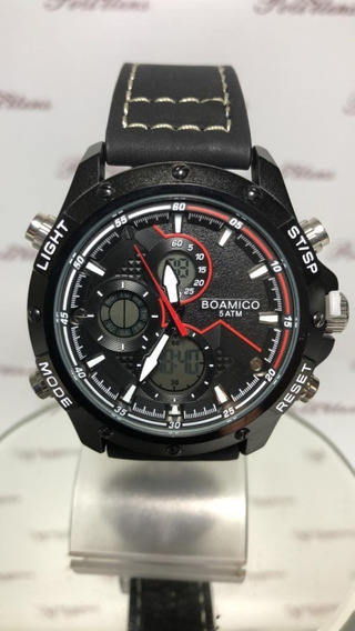Relógio Masculino De Pulso Boamigo Luxo Pulseira Couro P4497