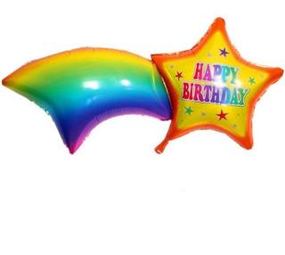 Globo Metalizado Feliz Cumpleaños 45 Cm Estrella Arco Iris