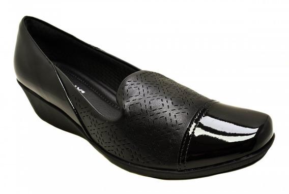 Sapato Anabela Piccadilly 144041 Efeito Vazado - Preto