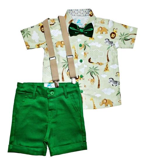 Safari Roupa Festa Mickey Safári Verde Menino Conjunto Social Camisa Temática, Bermuda Com Suspensório Infantil