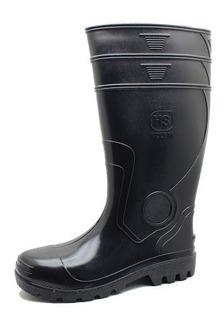 Botas De Goma Pvc Caña Larga Negras Con Puntera #37 Al 45