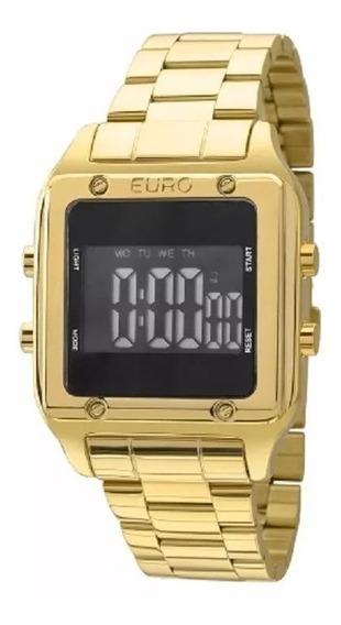Relógio Euro Eug2510aa/4p Digital Dourado Quadrado Sabrina