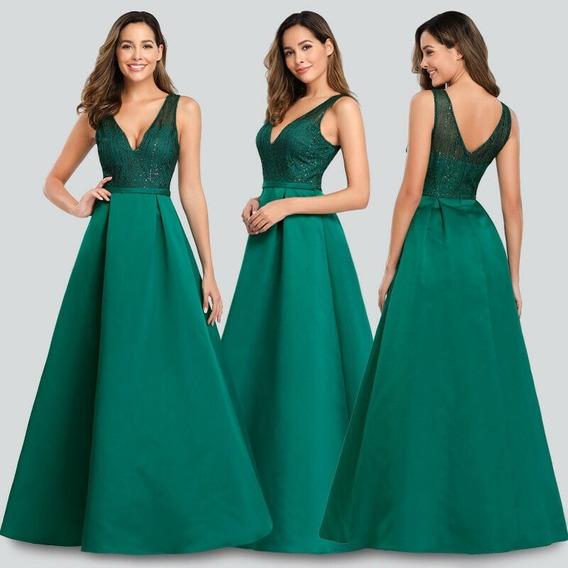Bellisimo Vestido Fiesta Largo Verde Importado Muy Elegante!