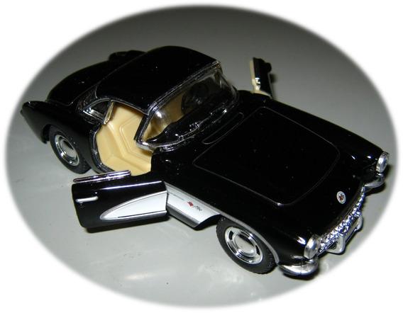 Auto Chevrolett Corvette 1957 Kinsmart Negro Abre Puertas