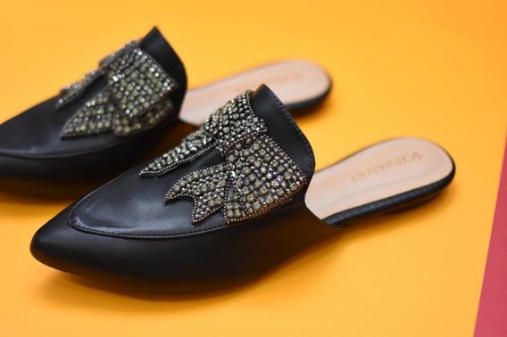 Sapato Mule Flat Feminino Bico Fino Laço Pedraria Promoção