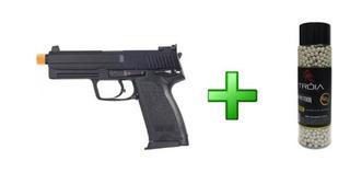 Pistola Airsoft H&k Usp.45 Tactical Kwa+bbs Tróia 0.20/2000