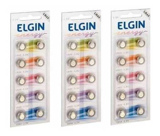 Kit Com 3 Cartelas Bateria Elgin Lr44 1.5v