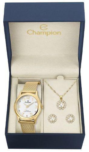 Relógio Feminino Champion Cn29007w Com Kit Semijoias