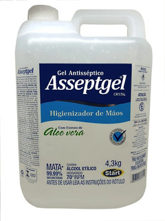 Álcool Gel 70% Antisséptico Para Mãos Asseptgel - 5 Litros