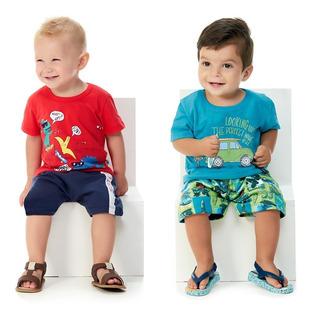 Roupa De Bebê Menino Kit 2 Conjuntos Manga Curta E Bermuda