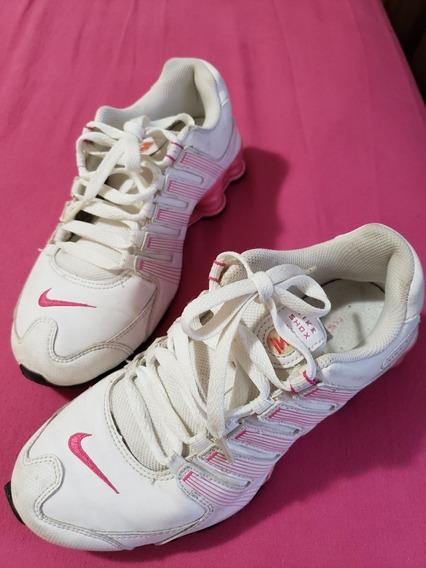 Tênis Nike Shox Branco E Rosa Tamanho 35