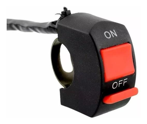 Botão Interruptor Guidão Moto P/farol Led Auxiliar Milha 12v