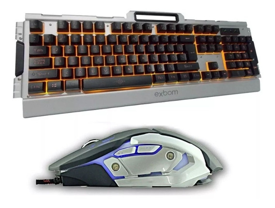 Kit Gamer Teclado Led Semi Mecanico + Mouse Exbom Bkg3000