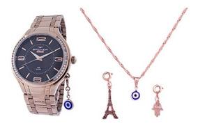 Relógio Backer Kit Feminino Rosé Pingente 106060058pr