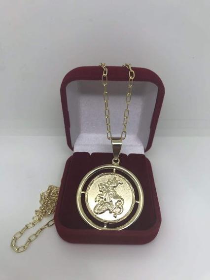 Corrente Com Medalha Grande De São Jorge Banhado Ouro 18 K