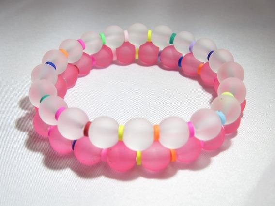 Pulseras Bola Transparente Rosa Y Blanco Arcoiris Set 5 Pzas