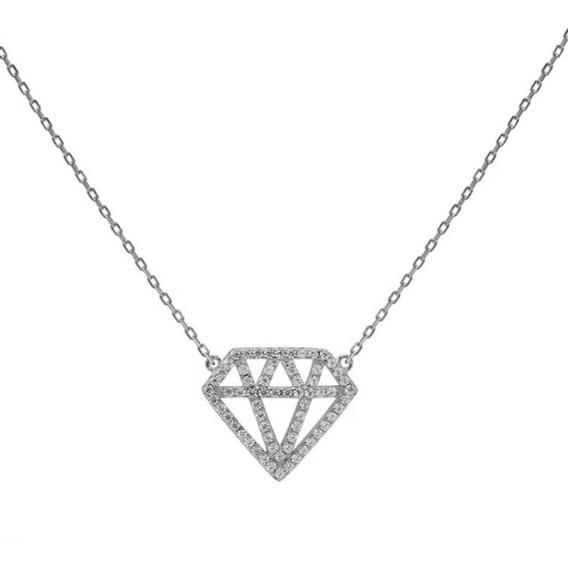 Cadena Carmin Plata 925 - Diamante Con Zirconios- Car11