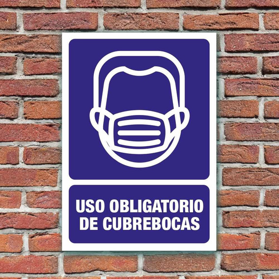 Señalamiento Uso Obligatorio De Cubrebocas 24x34 Cm