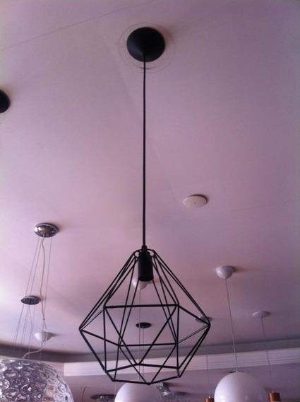 Kit 2x Pendente Aramado Diamante Preto C/ Lamp. Led 4w Brili