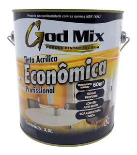 Tinta Acrílica Econômica Parede God Mix 3,6l Cores Diversas