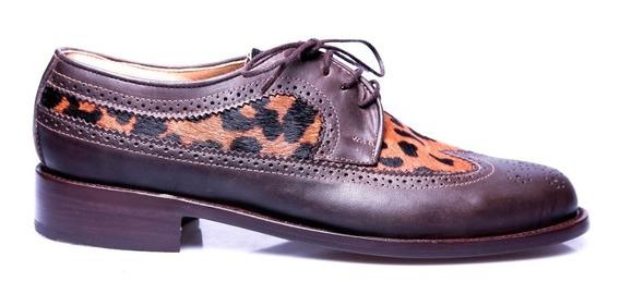 Tremendo Zapato Hombre Cuero Animal Print Oferta Ultimo Par