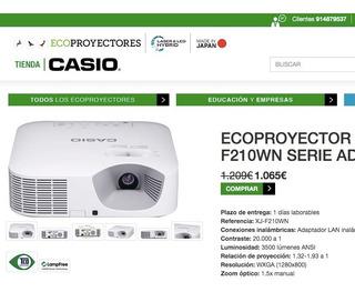Videoproyector Casio Xj-f210wn Advanced 3500 Lumens Cañon