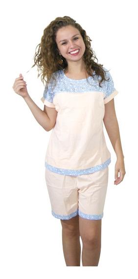 Pijama Para Lactancia 2 Piezas Rosa Con Azul