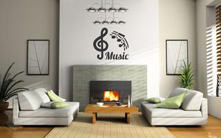 Adesivo Parede Música Decorativo Notas Musicais Rock Violão