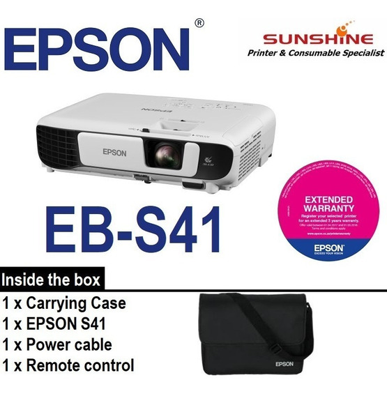 Projetor Epson S41+ 3300 Lumens + Mochila + Cabo Hdmi