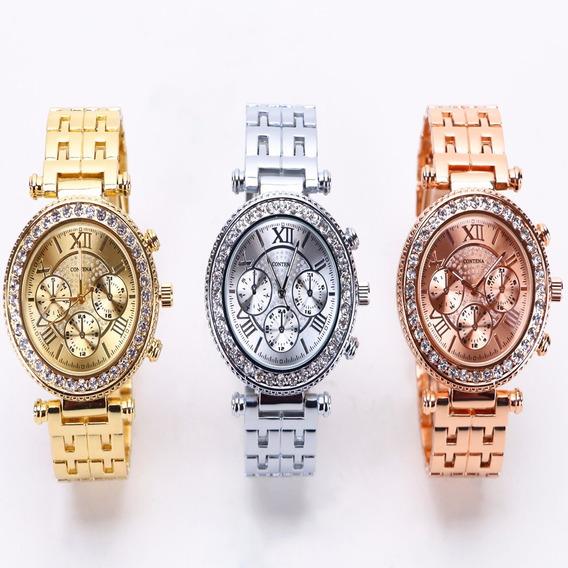 Relógio Brilhante Feminino Com Strass Pulseira De Luxo Impo