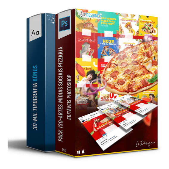 Pack 130-artes Mídias Sociais Pizzaria Editáveis Photoshop