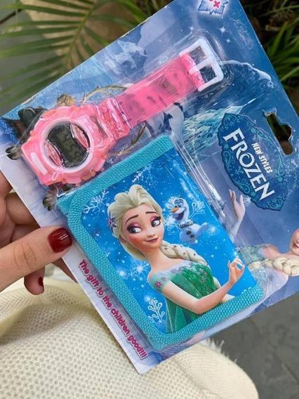 Relógio Infantil + Carteira Frozen