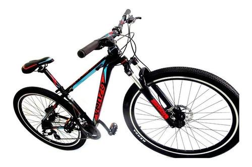"""Imagen 1 de 2 de Mountain bike Venzo Skyline Evo R29 22"""" 21v frenos de disco mecánico cambios Shimano Tourney TY700 y Shimano Tourney TY300 color negro/celeste/rojo"""