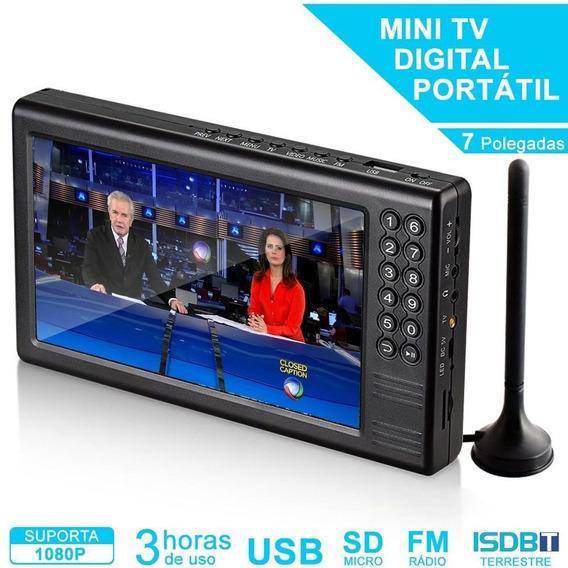 Mini Tv Digital Multimídia Portátil 7 Isdbt / Fm / Mp4 / Tf E Usb Pendrive
