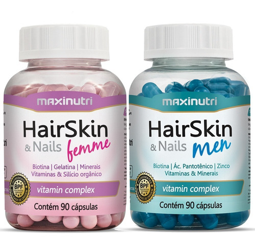 Hair Skin & Nails Femme + Hair Skin Men Com 90 Cápsulas Cada