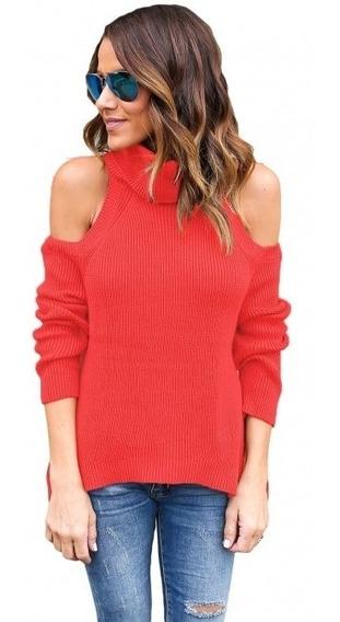 Suéter Para Dama Cuello Alto Sin Hombros Juvenil Color Coral